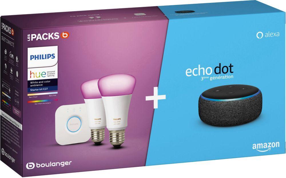 Pack de démarrage Philips Hue/Amazon : 2 Ampoules White & Colors + Pont + Assistant vocal Echo Dot 3 (+ 5.25€ en Rakuten Points) - Boulanger