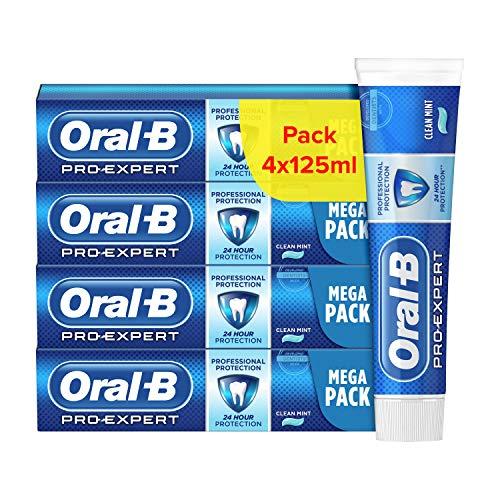Lot de 4 tubes de Dentifrice Oral-B Pro-Expert Protection Professionnelle, 24h de protection contre la plaque dentaire, menthe - 4 x 125ml