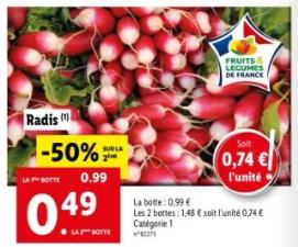 Lot de 2 bottes de radis roses - Catégorie 1 (Origine France)