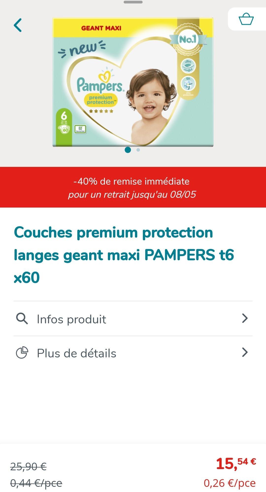 Paquet de 60 couches Pampers Premium Protection - taille 6 (via 3.11€ sur la carte de fidélité) - La Chapelle-sur-Erdre (44)
