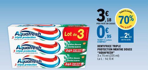 Lot de 3 dentifrices Aquafresh Triple Protection - 3 x 75ml (Via 2,23€ sur la Carte de Fidélité)