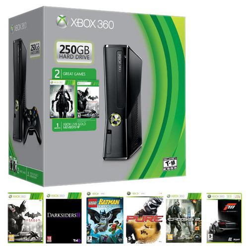 Console Xbox 360 250 Go + 6 jeux (Forza 3, Darksiders 2...)