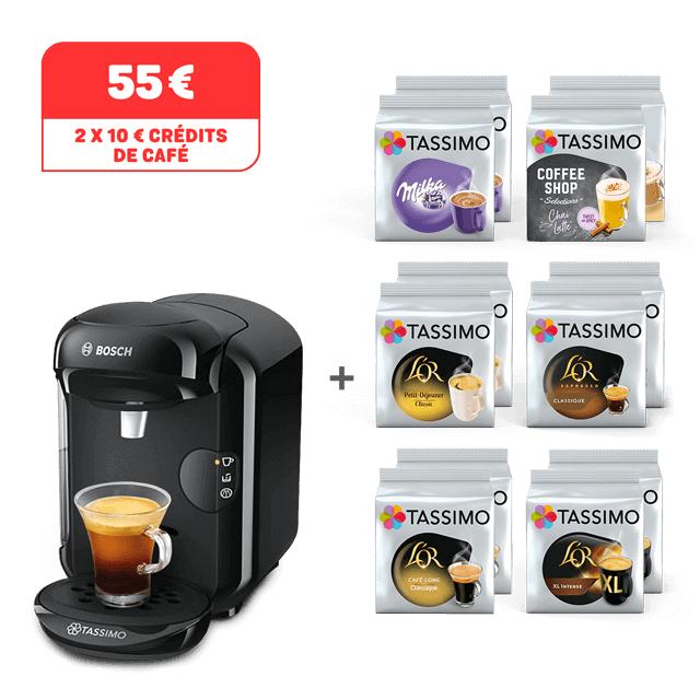 Machine à café Bosch Tassimo Happy + 12 Paquets T-Discs + 2 x 10€ de crédits café