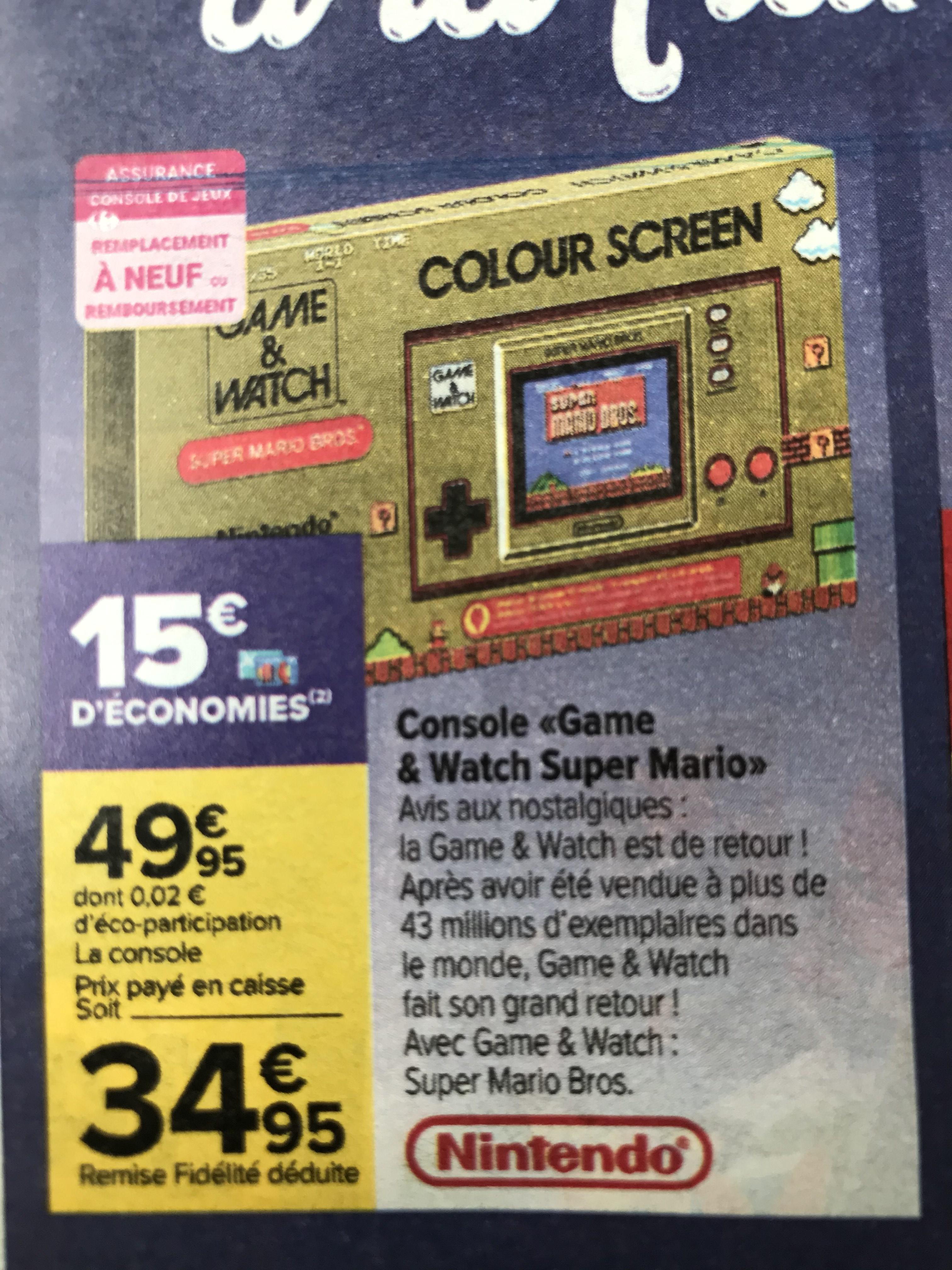 Console portable Nintendo Game & Watch Super Mario Bros. (via 15€ sur la carte de fidélité)