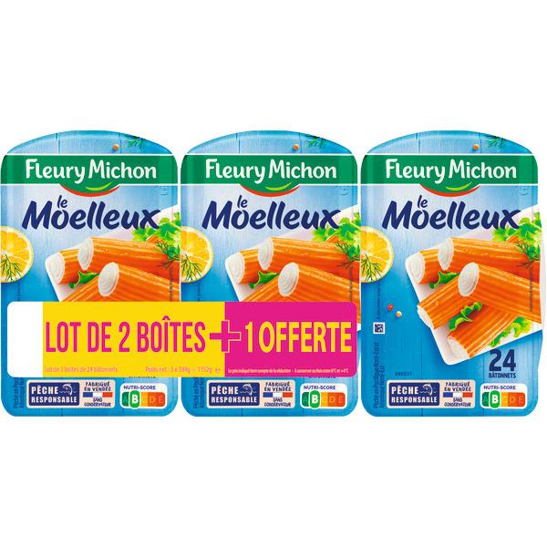 Lot de 3 boites de 24 Bâtonnets de surimi moelleux Fleury Michon - 3 x 384g
