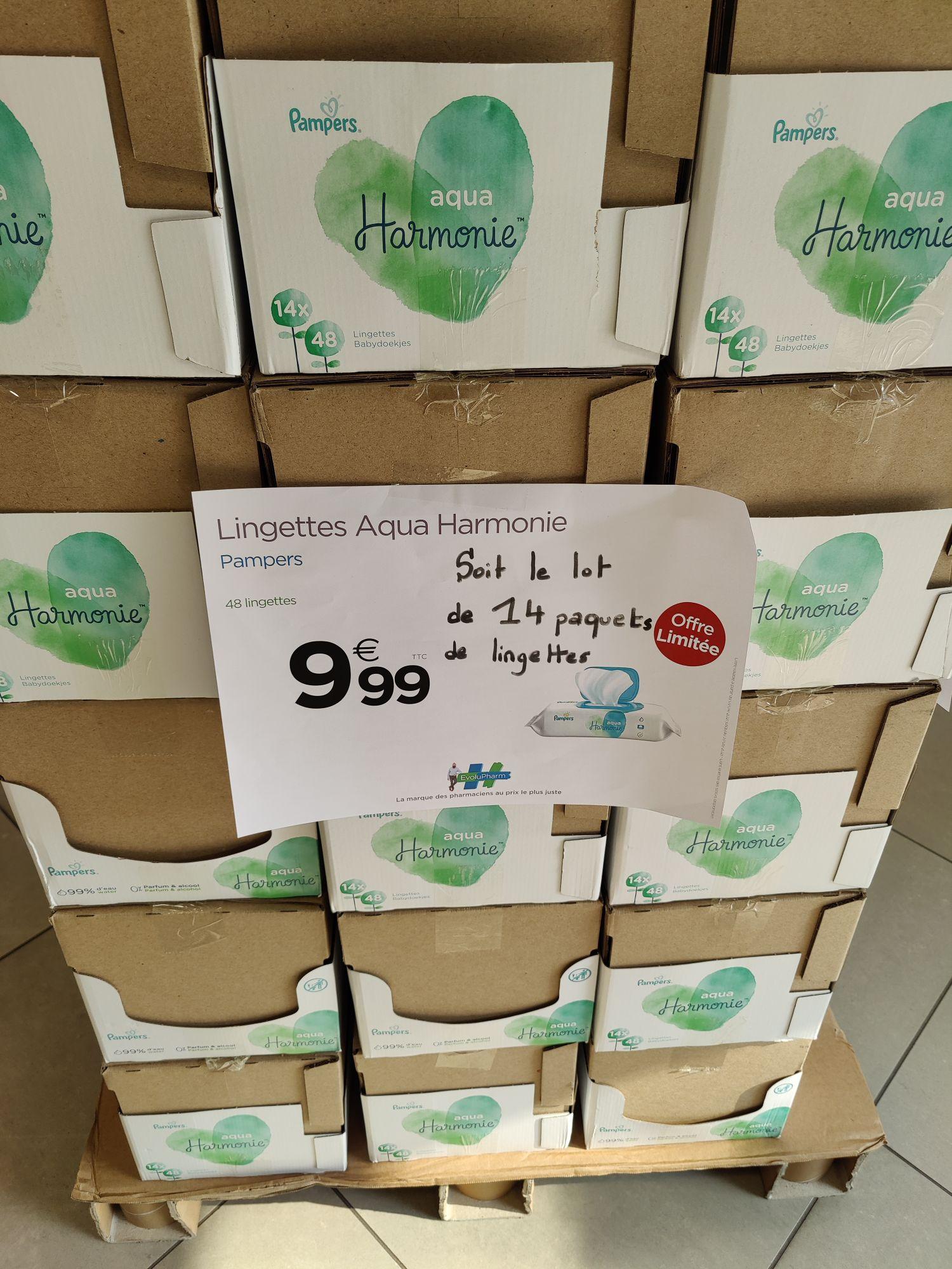 Lot de 14 paquets de lingettes Pampers Harmonie Aqua (14 x 48 lingettes) - Pharmacie Moulins Deliot Lille (59)