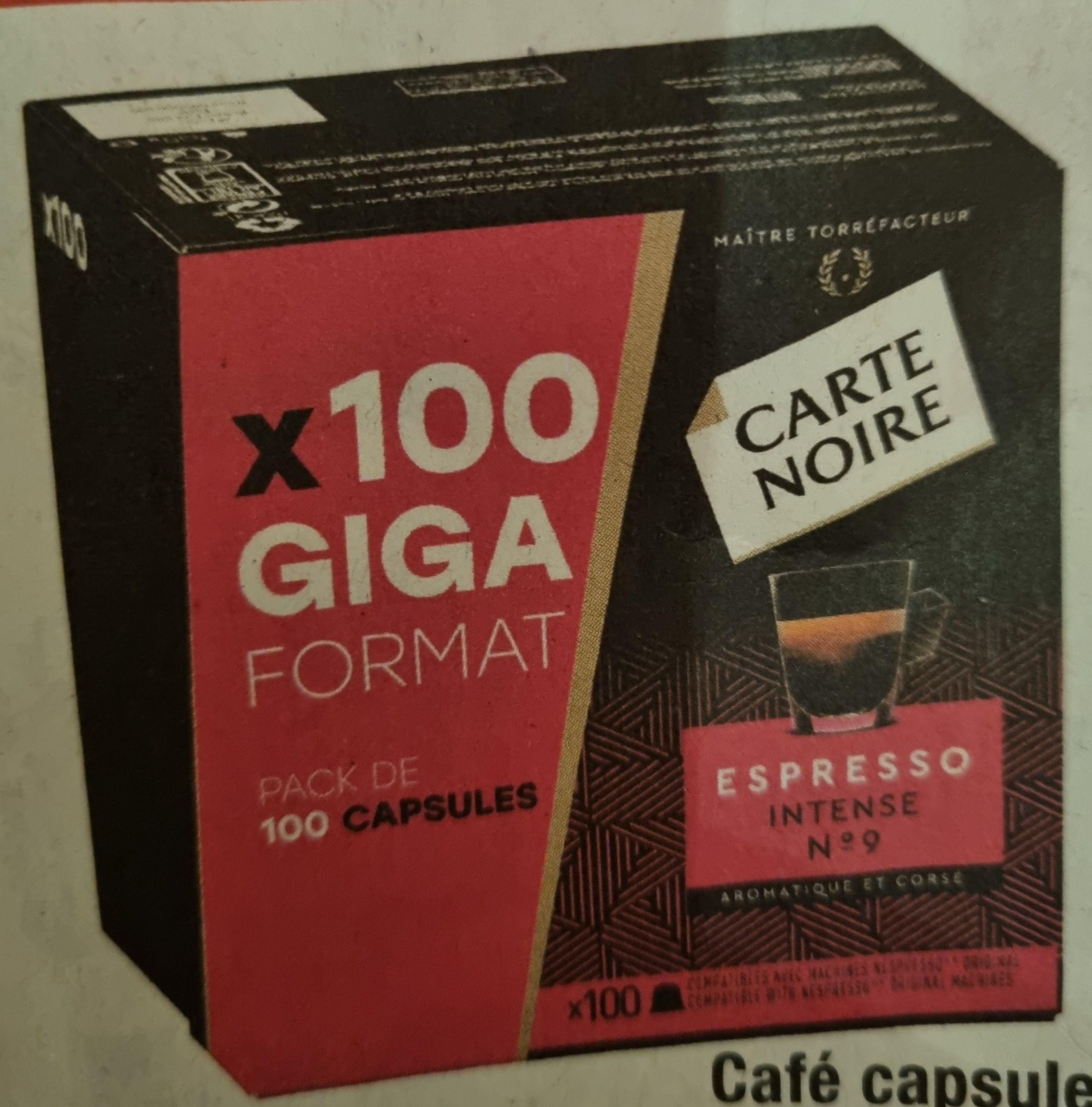 Boîte de 100 capsules de café Carte noire compatible Nespresso (Espresso intense n°9 ou Lungo classic n°6)