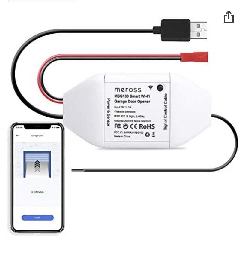 Contrôleur de porte de garage Meross - WiFi, Compatible Alexa, Google assistant et SmartThings (vendeur tiers)