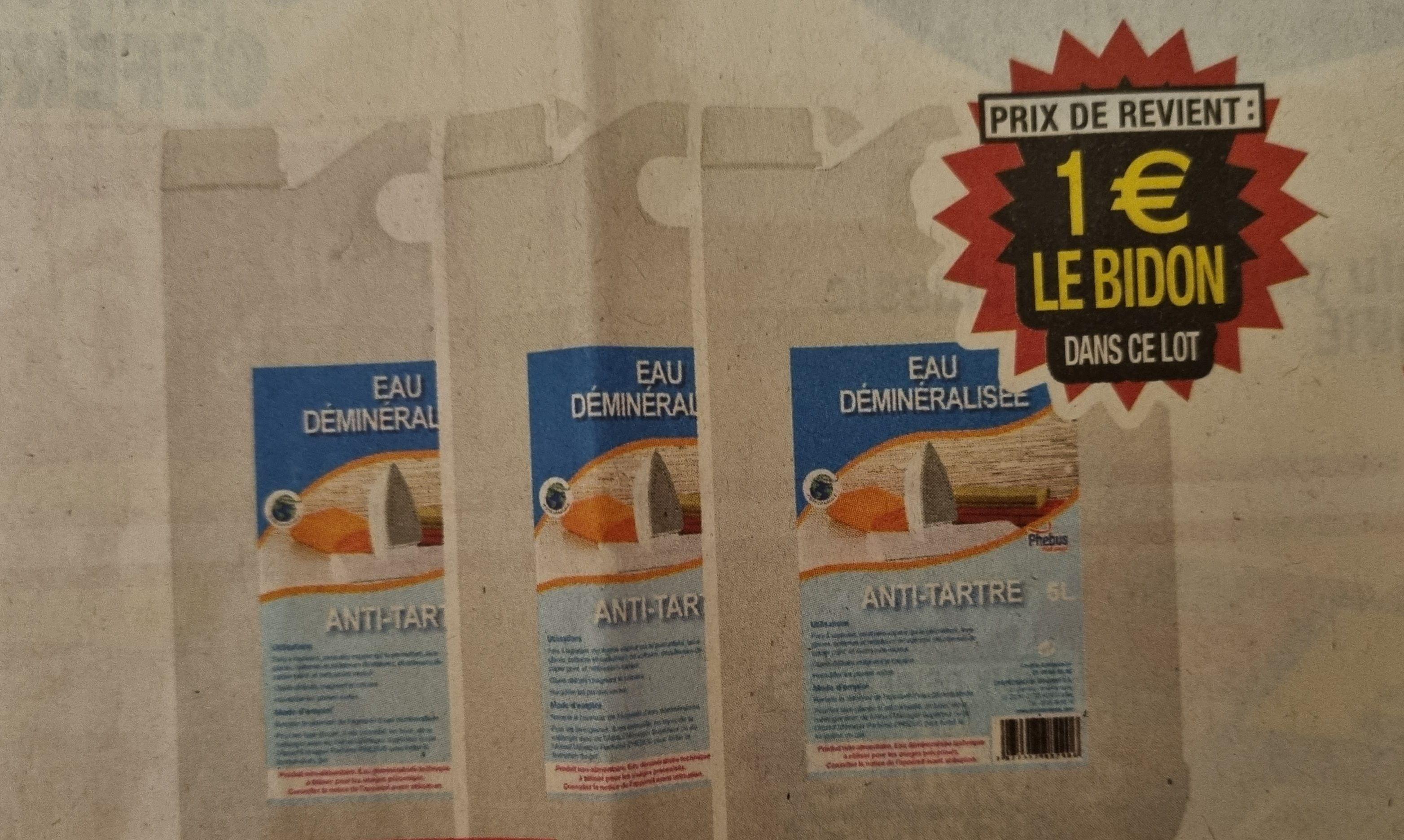 Lot de 3 bidons de 5 litres d'eau déminéralisée antitartre Phébus (3x 5L)