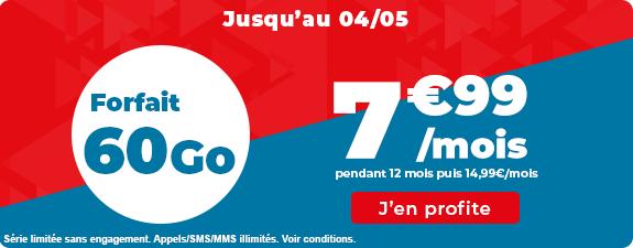 Forfait Mobile Auchan Télécom - Appels/SMS/MMS illimités + 60 Go de DATA - pendant 12 mois (sans engagement)