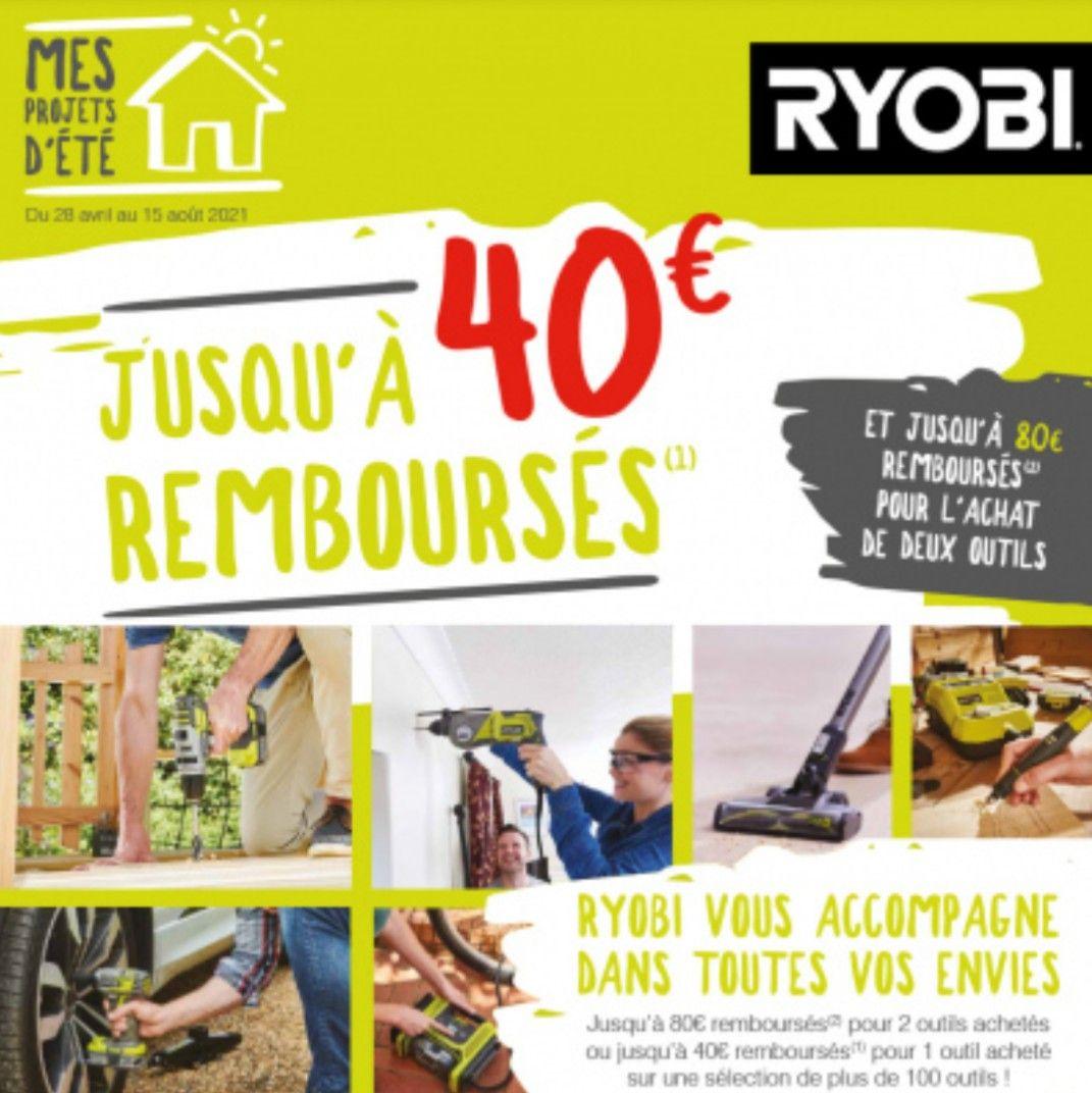 Jusqu'à 40€ remboursés sur l'achat d'un outil Ryobi