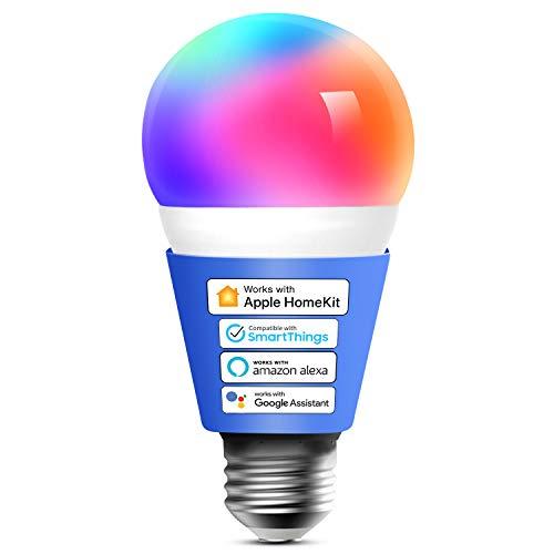 Ampoule connectée LED E27 - 2700K-6500K, RGB, Compatible avec Apple HomeKit, Siri, Alexa, Google Home et SmartThings (vendeur tiers)