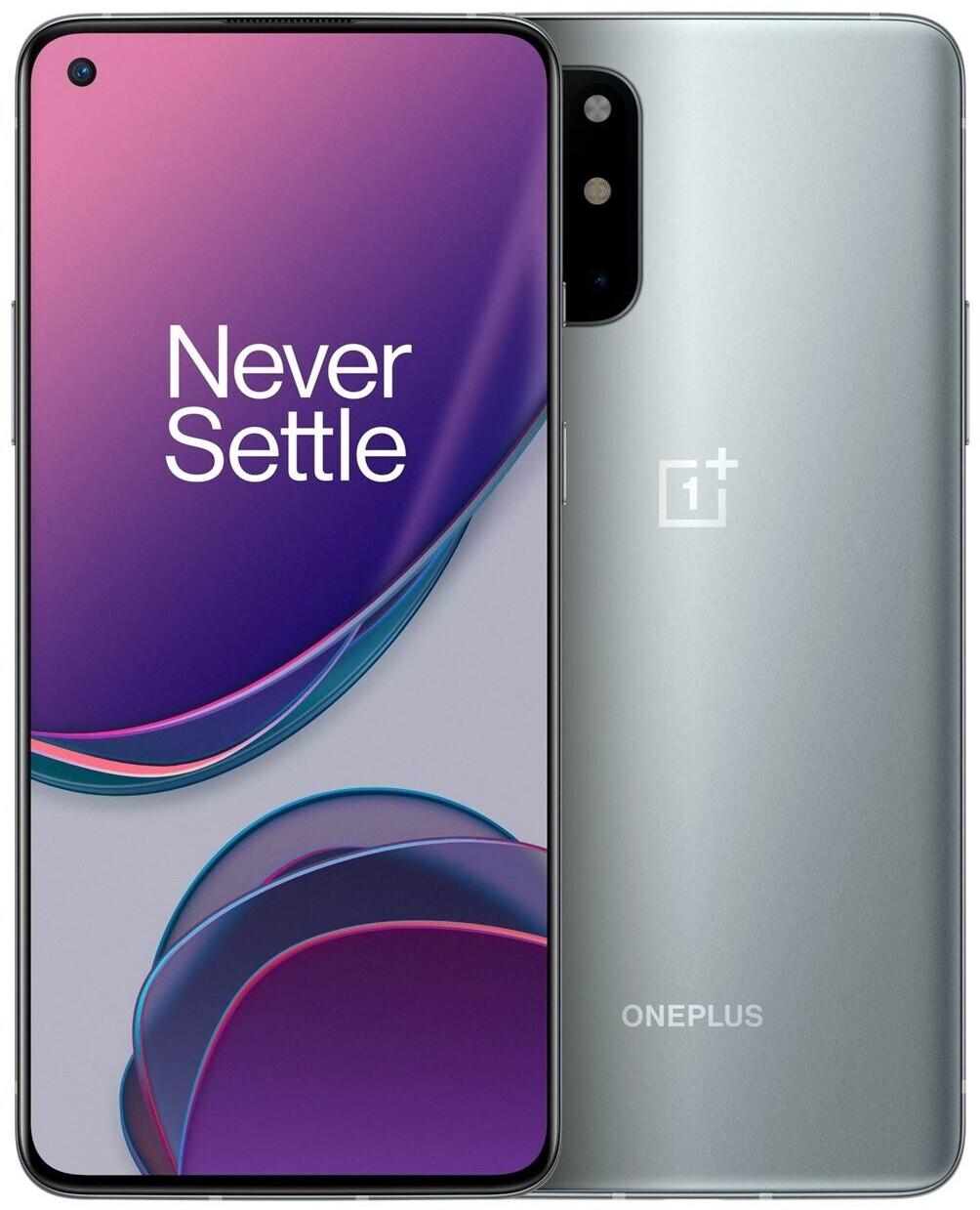 """Smartphone 6.55"""" OnePlus 8T 5G - FHD+ 120Hz, SnapDragon 865, 8Go RAM, 128Go, argent, chargeur UK avec adaptateur EU (410€ via HAPPYFR25)"""