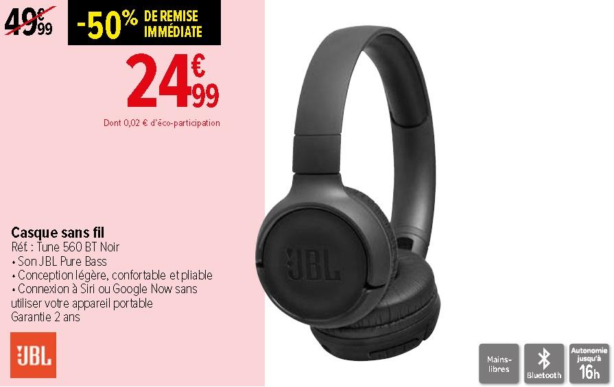 Casque sans fil JBL Tune 560BT BLT560BTBLK - Noir