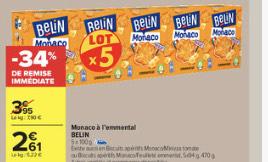 Lot de 5 boîtes de gâteaux apéritifs Belin Monaco à l'Emmental - 5x100 g