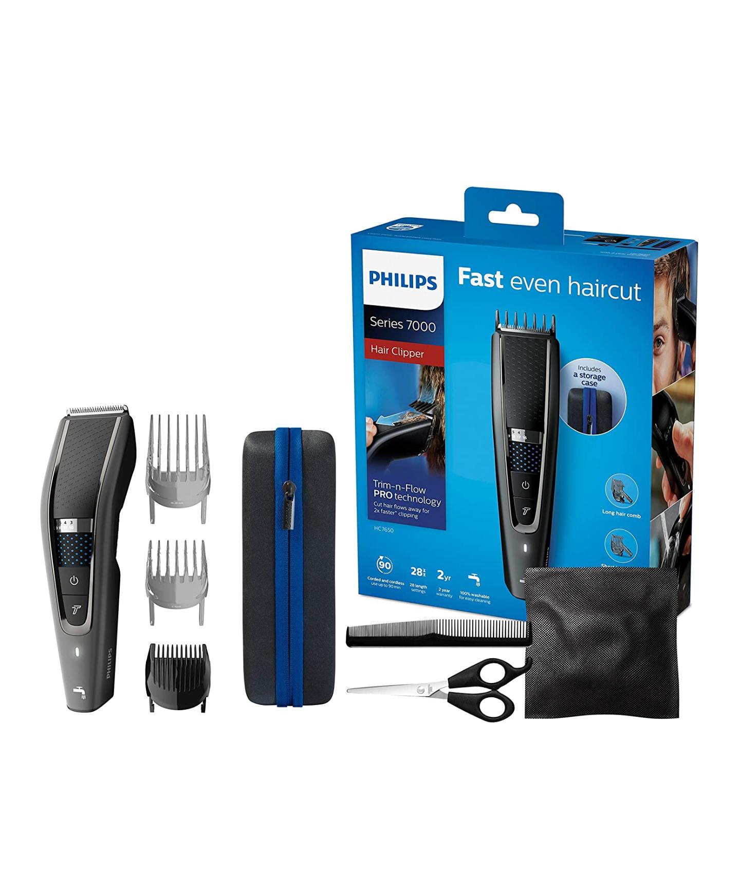 Tondeuse Cheveux et Barbe Philips HC7650/15 Series 7000 avec Housse de Voyage et Kit Coiffure