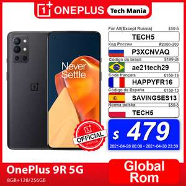 "Smartphone 6.55"" OnePlus 9R 5G - Amoled 120Hz, Qualcomm Snapdragon 870, 8 Go de RAM, 128 Go (387.80 avec le code HAPPYFR16)"