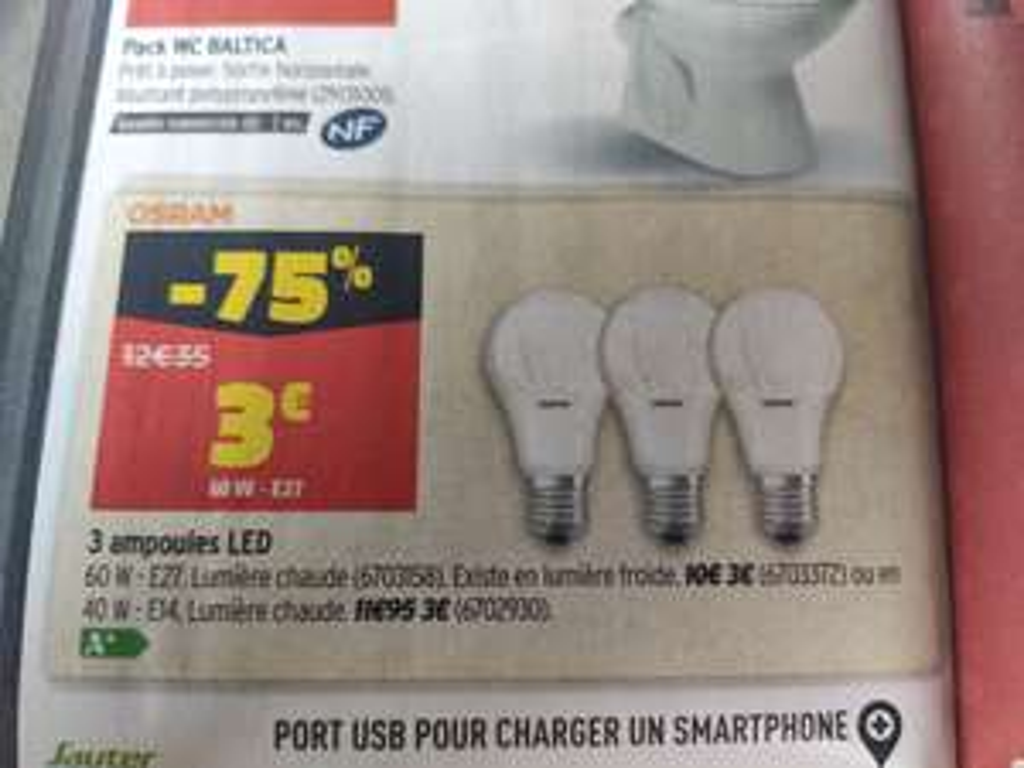 Lot de 3 ampoules LED Osram - E27 ou E14