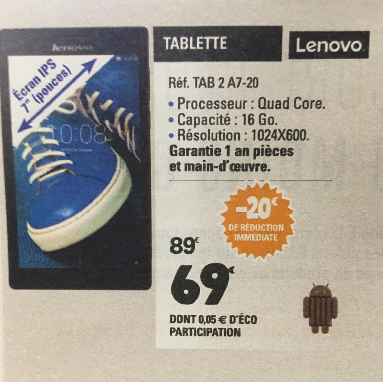 "Tablette 7"" Lenovo Tab 2 A7-20 (via ODR de 20€)  ou en magasin"
