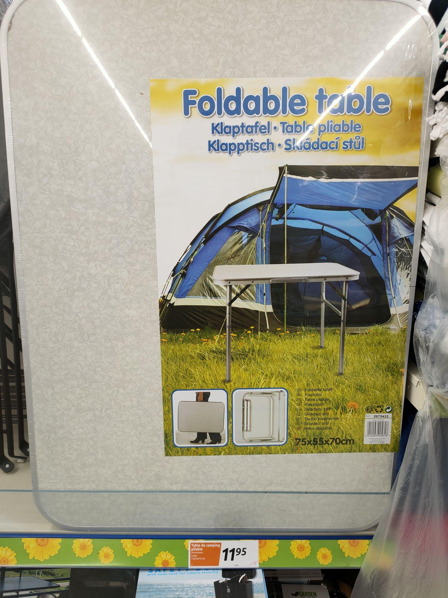 Table de camping pliable - 75 x 55 x 60 cm