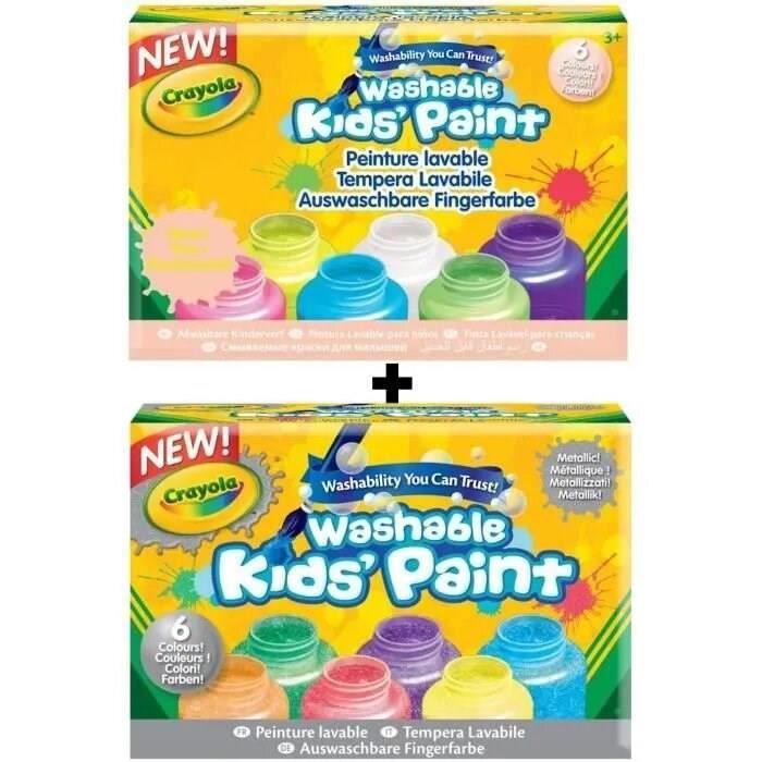 12 pots de peinture Crayola effets métalliques et néon - Peinture lavable