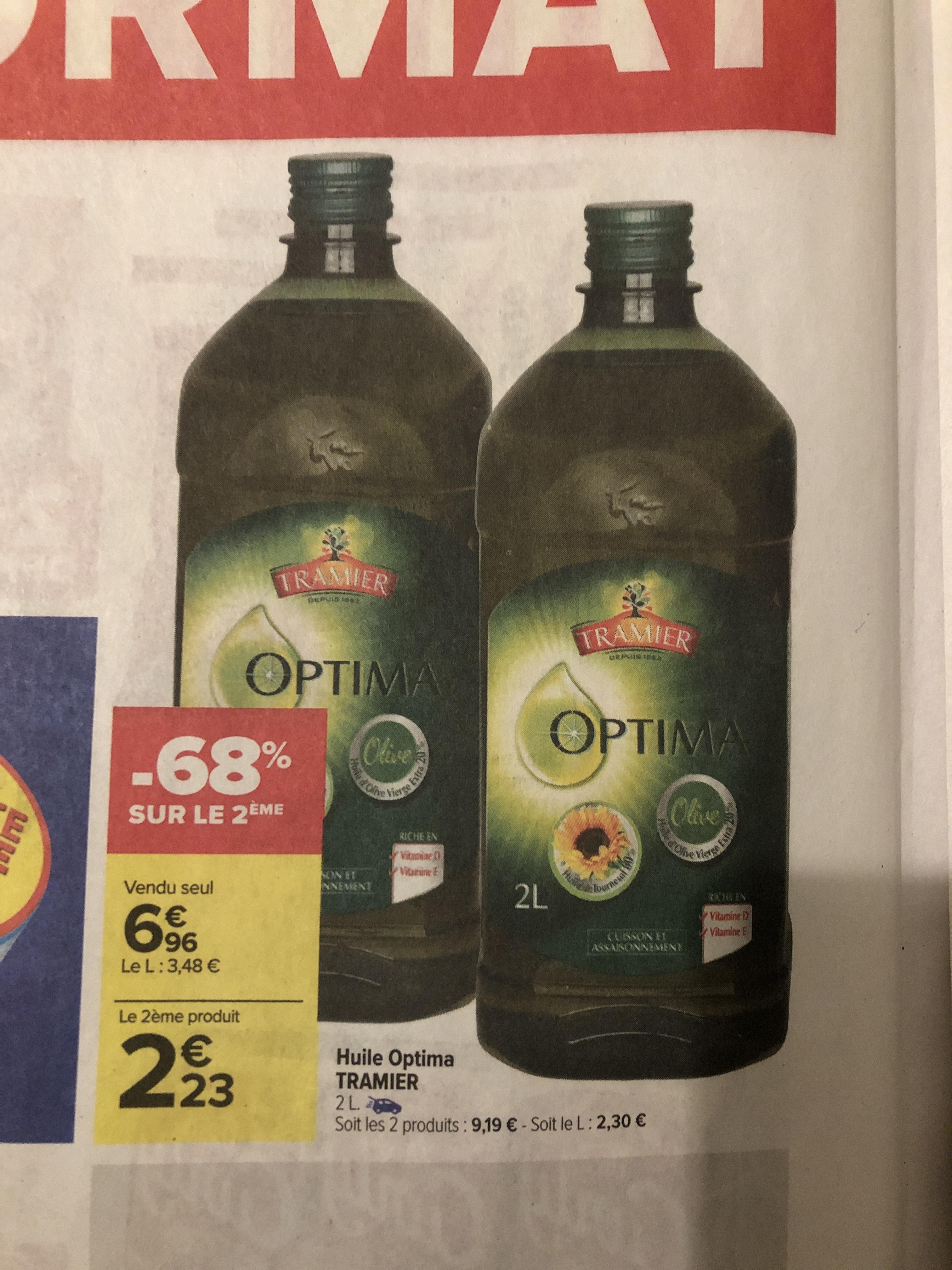 2 Bouteilles d'huile d'olive/tournesol Optima Tramier - 2 x 2L