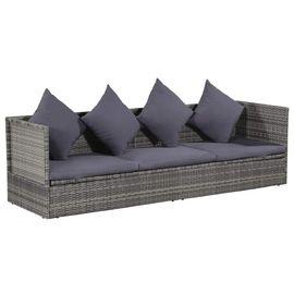 Canapé de jardin en Résine Tressée - 200 x 60 x 58 cm, Gris (+23.24€ en Rakuten Points)