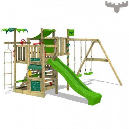 Aire de jeux Fatmoose CrazyCoconut Club XXL SuperSwing - avec toboggan MaxiGlider (2.2 m), 4.43x4.05x2.45 m - Fatmoose.fr