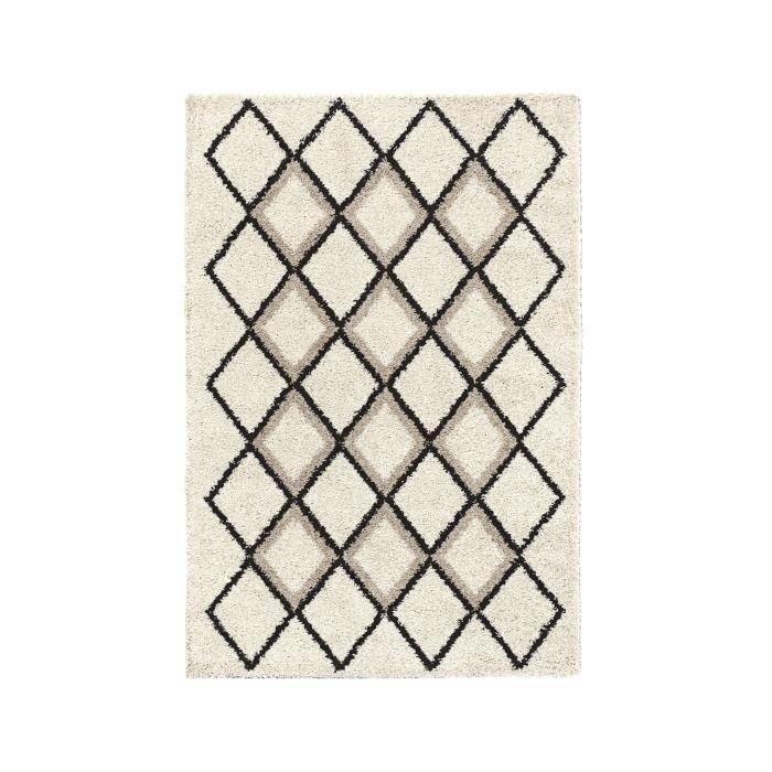 Tapis de salon Shaggy Nazar Suzan - Style berbère, 150 x 220 cm, Crème et gris, Motif géométrique