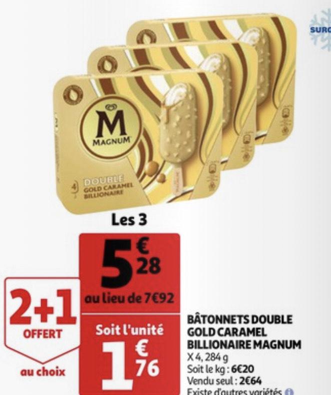 3 Boites de Magnum double caramel billionnaire