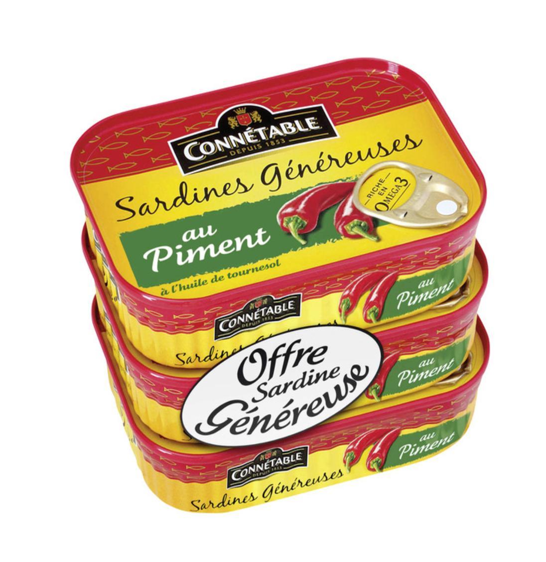 Lot de 9 boites de Sardines Connétable - Variétés au choix