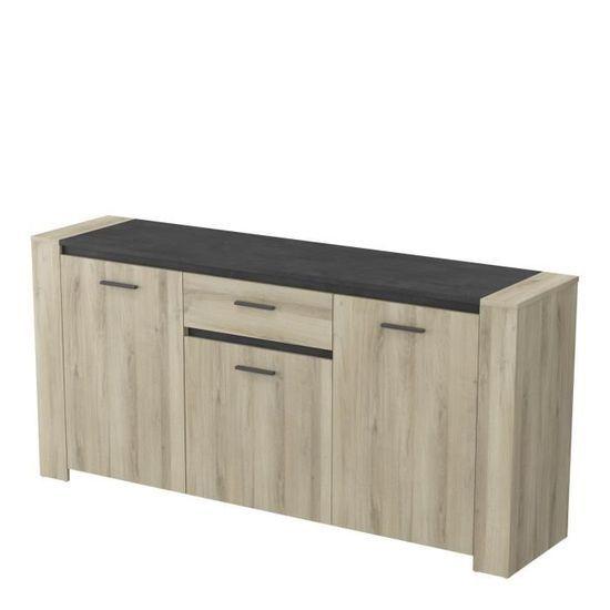 Enfilade 3 portes + 1 tiroir Sheffield - Décor chêne brossé
