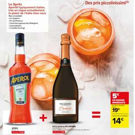 Pack Cocktail Spritz : Bouteille d'Aperol (1 L) + Bouteille de Prosecco Ricadonna (75 cl)