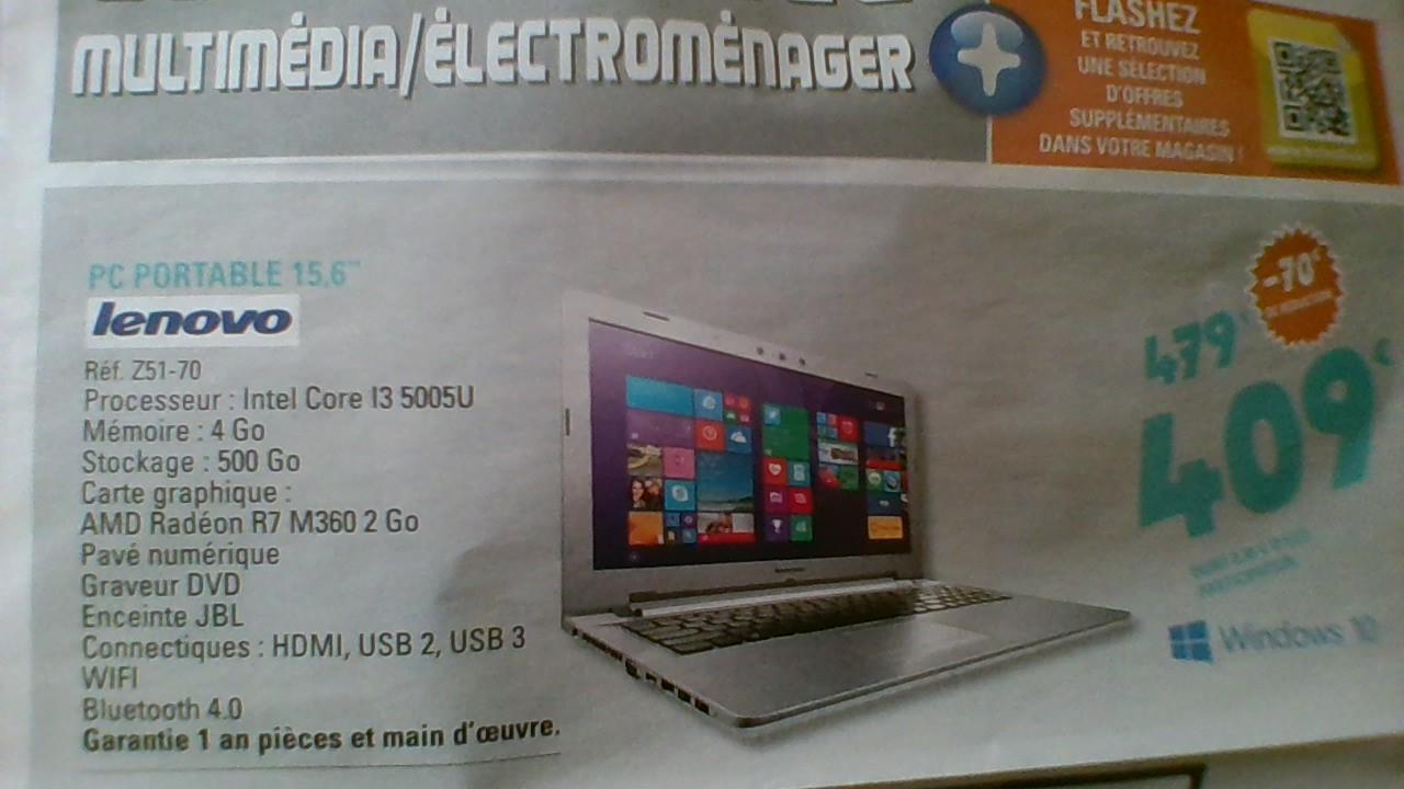 """PC Portable 15.6"""" Full HD  Lenovo Z51-70 (i3-5005U, 4 Go Ram, 500 Go HDD, AMD R7 M360)"""