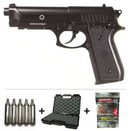 Pack Réplique Pistolet Taurus PT92 Co2 M9 Full Metal + 5 Cartouches Co2 + Malette de Transport + 5000 Billes 0.20g