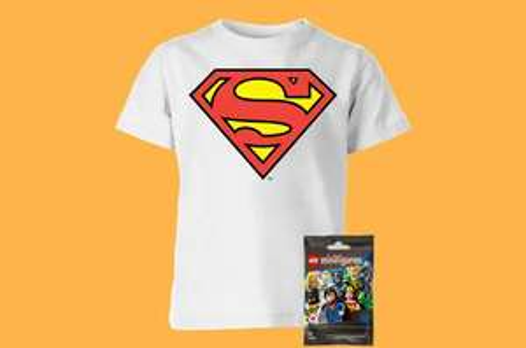 Sélection de T-Shirts Superman - Enfant (au choix / 3 à 12 ans) + Mini Figurine Lego
