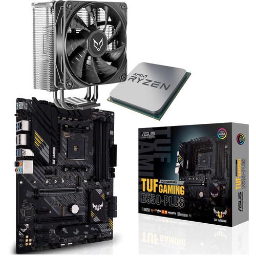 Kit évo Processeur Ryzen 5 5600X (Sans boîte) + Carte mère Asus Tuf Gaming B550-Plus + Ventirad Fox Spirit VT120