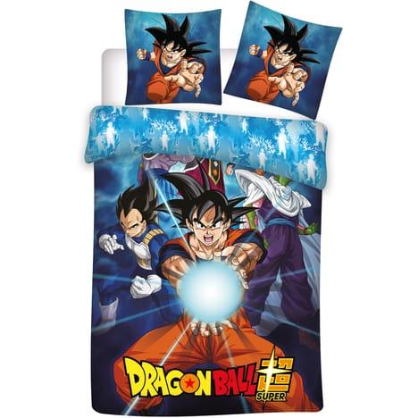 Parure de lit pour enfants Dragon Ball Z Kamehameha - 1 Housse de couette 140x200 cm + 1 taie d'oreiller carrée 63x63 cm