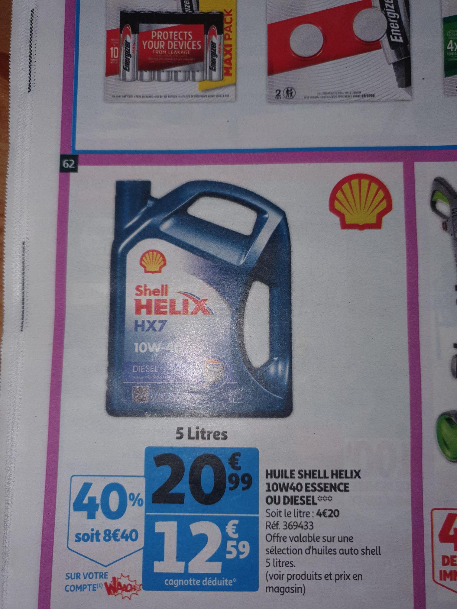Huile moteur shell hélix 10w40 essence ou diesel (via 8.4€ fidélité)