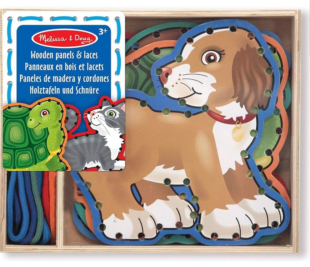 Jeu de laçage Melissa & Doug - 5 panneaux de bois animaux domestiques