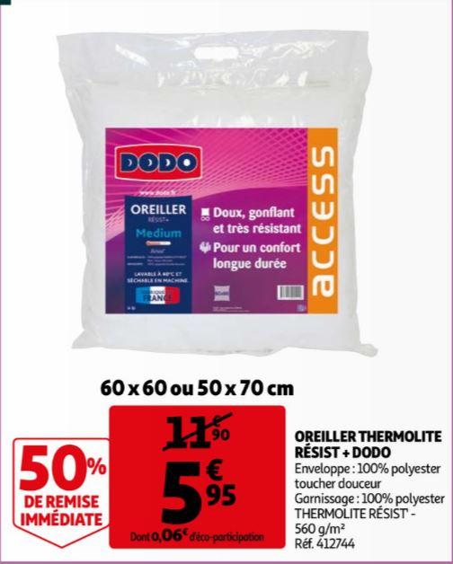 Oreiller Dodo Thermolite Résist + (60x60 ou 50x70cm)
