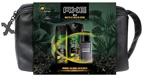 Coffret Trousse Axe Wild : Eau de toilette 100ml + Déodorant Spray homme 150ml + Gel Douche Fraîcheur 200ml