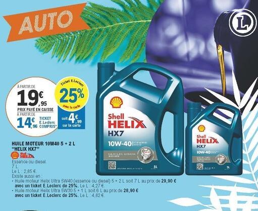 Bidons de 5L + 2L d'huile moteur Shell Helix HX7 10W40 - Essence ou diesel (via 4.99€ sur la Carte de Fidélité)