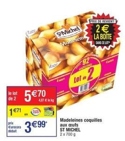 Lot de 2 boîtes de madeleines Saint Michel - 2 × 700g (via 1.71€ sur la carte de fidélité)