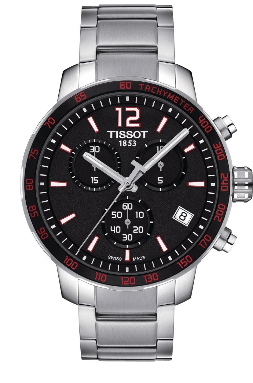 Montre quartz chronographe Tissot Quickster pour Homme - Boitier acier 42mm, Verre saphir, Bracelet acier, étanche 10ATM