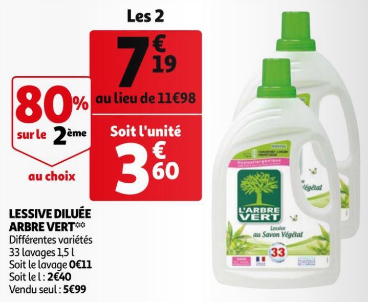 Lot de 2 Bidons de Lessive liquide l'Arbre Vert (2x 1.5L)