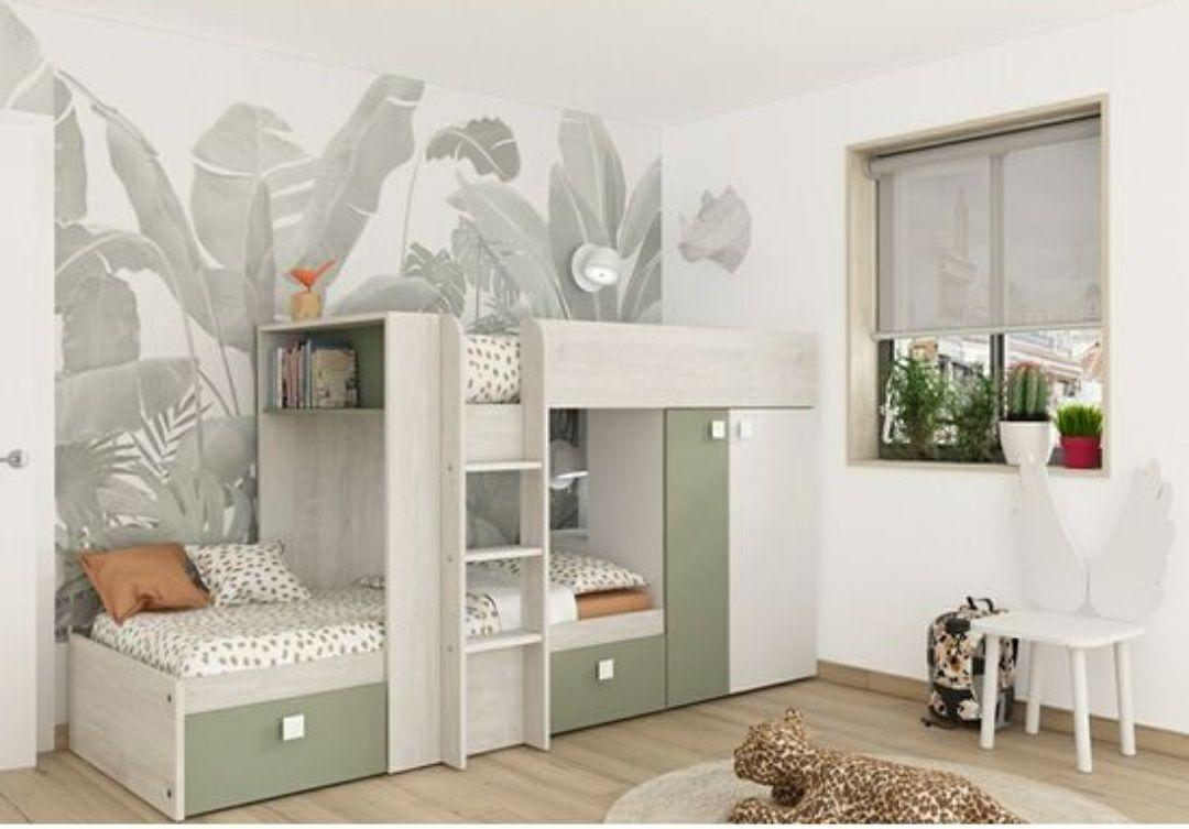 Lit superposé Melymelo - 90 x 190 cm, imitation chêne, blanc et vert