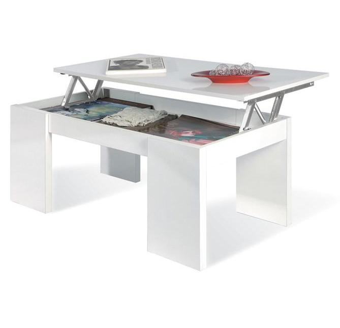 Table basse kendra avec plateau relevable grise ou blanc - Kendra table basse blanche plateau relevable ...
