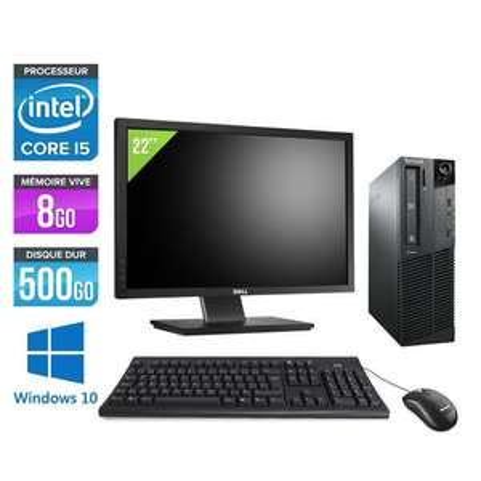 "Tour PC Lenovo ThinkCentre M81 SFF + Ecran 22"" (Reconditionné)"