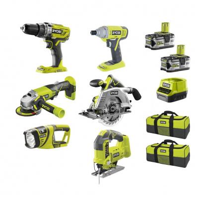Pack d'outils sans-fil Ryobi 18V: 6 machines professionnelles + 2 batteries Li-ion 5Ah + 2 sacs de transport + chargeur